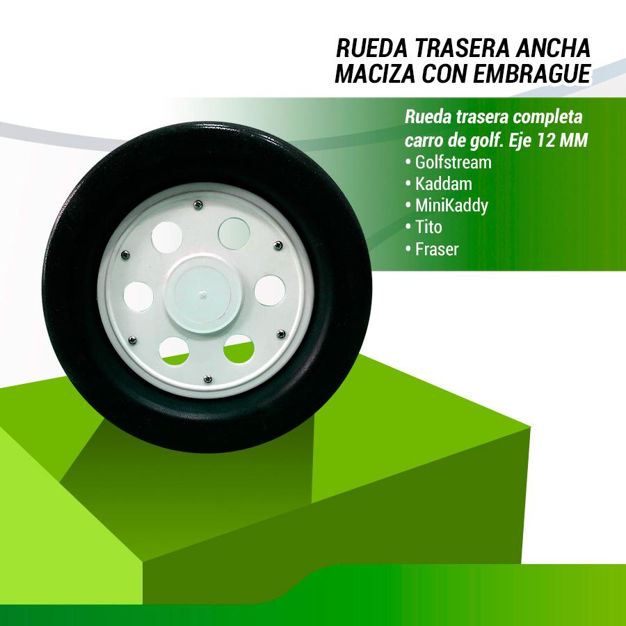 RUEDA TRASERA ANCHA PVC EJE 12MM.
