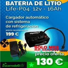 BATERIA DE LITIO VTPOWER 12V.16AH CON CARGADOR AIR COOLING