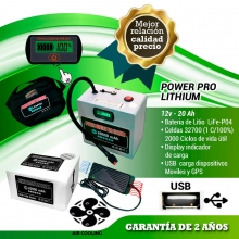 POWER BATTERY PRO LITHIUM 12V  20AH CON CARGADOR AIR COOLING