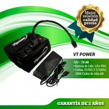 BATERIA DE LITIO VTPOWER 12V.16AH CON CARGADOR Y FUNDA DE NEOPRENO