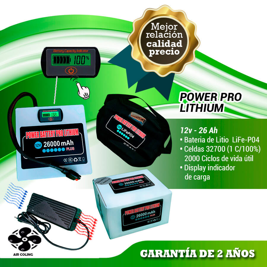 POWER BATTERY PRO LITHIUM 12V 26AH CON CARGADOR AIR COOLING